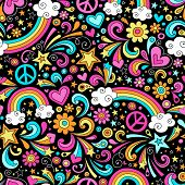 Rainbows Seamless Pattern Psychedelic Groovy Peace Notebook Doodle Design- Hand-Drawn Vector Illustr