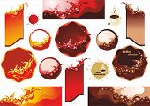 Collection labels . Splashes of coffee, juice and wine.  (vector illustration)