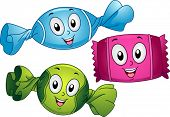 Mascot Illustration of Candies in Different Flavors Wrapped with Colorful Wrappers