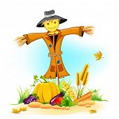 stock photo of scarecrow  - illustration of scarecrow with Thanksgiving vegetable - JPG