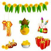 picture of deepavali  - illustration of holy object and decoration for Indian festival - JPG