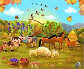 farm animals in the autumn field