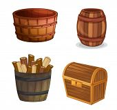 illustration of various wooden objects on a white background