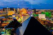 LAS VEGAS - AUGUST 13: An aerial view of Las Vegas Strip on August 13, 2012 in Las Vegas, Nevada. Th