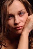 close up portrait of sexy sad woman