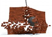 stock photo of wrecking  - A wrecking ball destroying a brick wall on a white background - JPG