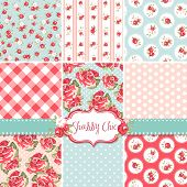 Shabby Chic Rose Patterns and seamless backgrounds. Ideal for printing onto fabric and paper or scra