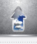 vector illustration of the grunge metal plate with cloudy sky