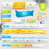 Vektor-Web-Elemente, Buttons und Labels. Website-Navigation.