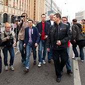 MOSCOW - 15 SEPTEMBER: Opposition leaders Ilya Yashin (L) and Alexei Navalny (R) speaks at a anti-Pu