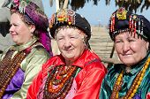 ULAN-UDE, RUSSIA - SEPTEMBER 15: Cultural program of the Baltic Economic Forum. Old women in costume