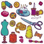 Garabatos de Kit de costura - elementos de diseño dibujado en vector de la mano