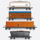 Vector Collection of Train Cargo Wagons, Tanks, Cars.
