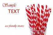 Red 'candy striped' environmentally friendly straws (biodegradable paper printed with soy-based ink)