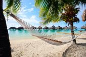 stock photo of french polynesia  - Beautiful beach on Moorea island in French Polynesia - JPG