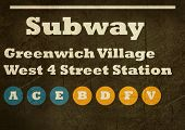Grunge Greenwich Village West 4 street station subway sign isolated on white background, New York Ci