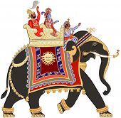 picture of painted toes  - Vector illustration of a decorated indian elephant - JPG
