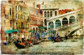 amazing Venice, Rialto bridge - artwork in painting style