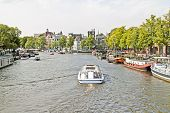 Sightseeing on the river Amstel in Amsterdam in the Netherlands