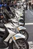 NEW YORK - SEPT 17: Police motorcycles parked on Broadway in front of Zuccotti Park on the 1yr anniv