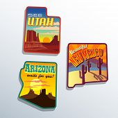 Southwest United States Arizona New Mexico Utah vector  illustrations designs