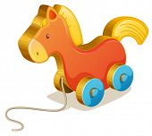 Illustration of a toy horse on white