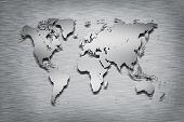 stock photo of south east asia  - Metal World Map on metal background - JPG