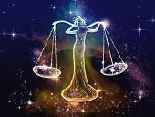 stock photo of nymphs  - Libra is Space attribute of justice - JPG