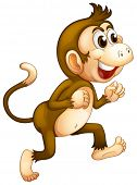Illustration of a monkey running on a white background