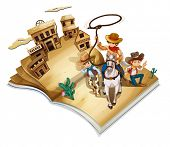 Illustration of a book with an image of three cowboys on a white background