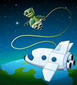 picture of outerspace  - Illustration of an aircraft and a robot at the outerspace - JPG