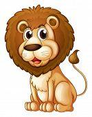 Ilustración de un león graso sobre un fondo blanco