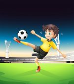 Illustration of a boy in a yellow uniform playing soccer in the soccer field in the soccer field