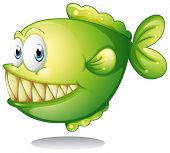 pic of piranha  - Illustration of a green piranha - JPG