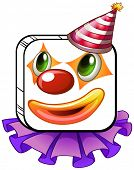 Illustration of a square-faced clown with a party hat on a white background
