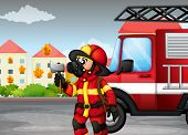 Illustration of a fireman holding an axe with a truck at the back