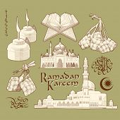 Ramadan Element. Translation of Jawi Text: Eid Mubarak, May you Enjoy a Blessed Festival
