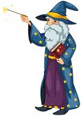 Illustration of a wizard holding a magic wand and a book on a white background