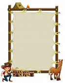 Illustration of an empty framed banner with a cowboy and a horse on a white background