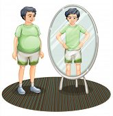 stock photo of bulge  - Illustration of a fat man outside the mirror and a skinny man inside the mirror on a white background - JPG
