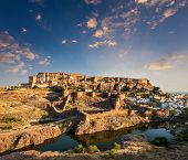 Mehrangarh Fort and Padamsar Talab and Ranisar Talab lakes on sunset , Jodhpur, Rajasthan, India
