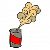 retro cartoon fizzing soda can
