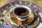 stock photo of coffee grounds  - Turkish greek coffee is a method of preparing coffee - JPG