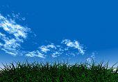 Green Grass Under A Blue Sky poster