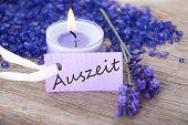 Purple Label With Auszeit On It