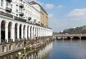 Hamburg  - April 25: Historic Center At Town Canal 'kleine Alster'  On April 25, 2013 In Hamburg, Ge
