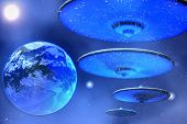 stock photo of starship  - Flying saucers come to Earth from outer space - JPG