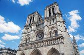 Notre Dame Cathedral, Paris, France. Main facade view. Famous Paris tourist attraction