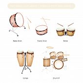 pic of congas  - Illustration Brown Color Collection of Vintage Musical Percussion Instruments Bongo Conga Bass Drum Snare Drum and Drum Kit Isolated on White Background - JPG