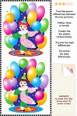 Find the differences visual puzzle - little circus clown